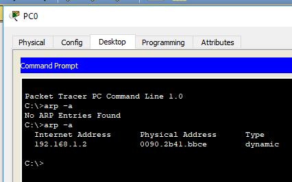 Cisco Packet Tracer ARP-таблица