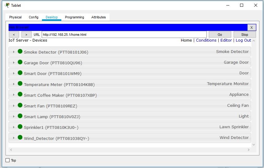 детектор ветра в списке подключенных устройств IoT